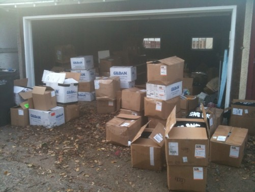 boxes of merch